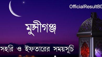 মুন্সীগঞ্জ জেলার সেহরি ও ইফতারের সময়সূচি ২০২১ Ramadan Calendar 2021 Munshiganj Sehri & Iftar Time