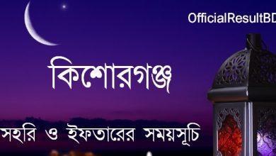 কিশোরগঞ্জ জেলার সেহরি ও ইফতারের সময়সূচি ২০২১ Ramadan Calendar 2021 Kishoreganj Sehri & Iftar Time